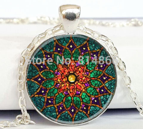 (BUY 3 GET 1 FREE )Mandala Necklace,Handmade Art Pendant,Meditation Jewelry,Glass Dome Necklace Vintage,Green Mandala Necklace(China (Mainland))