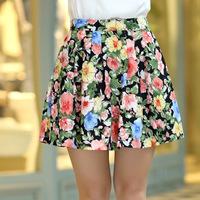 FREE SHIPPING 2014 Fashion Women Designer New Spring and Summer Sweet Flower Print Above Knee Skirt