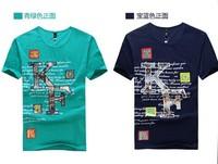 2014 new summer Korean Slim casual printed short-sleeved T-shirt tide male short-sleeved shirt Men Tee