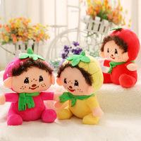 12 pcs/lot 7'' 18 cm mini Monchhichi dolls soft monkey stuffed plush toys, cute small stuffed animals toys for baby girls