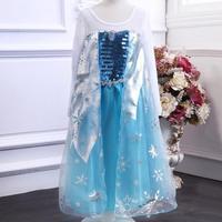 Frozen dress children clothing fashion Elsa Cosplay costume princess dresses sequined long sleeve kids clothes girls dress A152