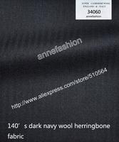 2015-Free shipping 140's dark navy wool herringbone fabric