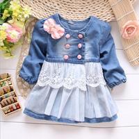 Retail 1pcs/lot baby girls coat jacket blue Girls jackets denim children's outerwear & coats Spring autumn baby coat lace  C210