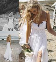 2014 Galia Lahav White Beach Wedding Dresses Lace Applique Split A Line Spaghetti Straps Floor Length Chiffon Bridal Gowns High