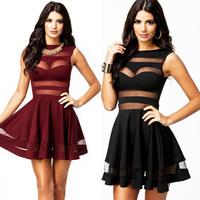 2014 New Women Black /BrownRed Mesh Panel Dress Above Knee Mini Party Clubwear & Dresses Free Shipping Plus Size M XL XXL CB9558