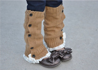 wholesale 5pairs/lot girls boot socks grisl boot cuffs gaiters wool lace leg warmer button down knitted boot socks