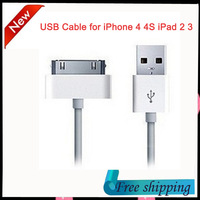 1m USB Sync Data Charging Charger Cable Cord for Apple iPhone 3GS 4 4S 4G iPad 2 3 iPod nano touch Cable Adapter free shipping