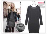 New 2014 Autumn And Winter Velvet One-piece Dress Fashion Casual Slim Long-sleeve Basic Dresses Black Gray Plus