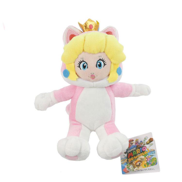 6 Шт./лот Бесплатная Доставка Super Mario Bros 3D World Neko Cat Принцесса Персик 18 см Мягкие Плюшевые Игрушки Милый Рисунок