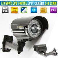 "Free shipping NEW 1/3"" SONY CCD HD 700TVL EFFIO-E Waterproof Outdoor security camera 72pcs IR LED IR 50M CCTV Camera Vandalproof"