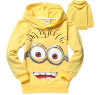 CS049 Free Shipping 2014 new arrival minions long sleeve children hooded sweatshirt kids outerwear jackets boys/girs coat retail