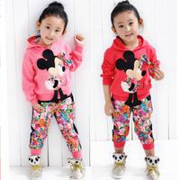 Fashion 2014 Spring Autumn Cartoon Girls Minnie Mouse Summer Clothes Suits children hoodies + pants Clothing Set B237