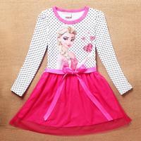 HOT new style frozen princess dresses fashion elsa dress cartoon children long sleeve polka dot dress kids girls clothes A137