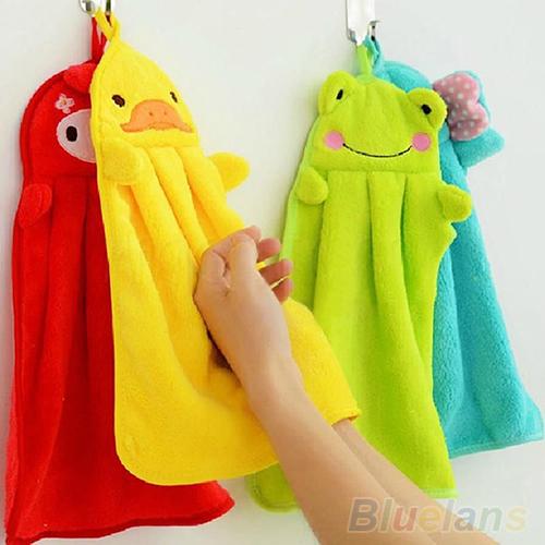 Nursery Hand Towel Soft Plush Fabric Cartoon Animal Hanging Wipe Bathing Towel 1VT9(China (Mainland))