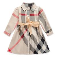 Autumn spring fashion half sleeve princess kids clothes children clothing brand Girls plaid dress child baby girl dresses A144