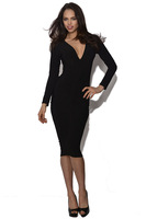 2014 Slimming Fitted Bodycon Dress Long Sleeve Sexy Deep V Neck Office Lady High Street Autumn Dress Y033 S-XXL