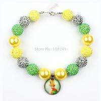 5pcs/lot Christmas Chunky Beads Necklace Tinkerbell Princess Pendant Bubblegum Bead s Necklace Jewelry Wholesale