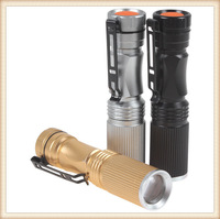 30PS Mini 600LM CREE XP-E R5 LED Flashlight Waterproof 3 Mode Zoomable Torch Light With Black / Golden / Silver 3 Optional Color