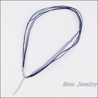 80pcs Multicolor Organza Voile Ribbon Waxed Cotton Necklace Cords Lobster Clasp DIY Jewelry Accessory  HC80908