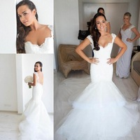 2014 Steven Khalil White Fluffy Tulle Bare Back Mermaid Wedding Dress Beach Bridal Gown Sweetheart Appliques Pleated Sweep-Train
