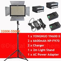 Bi-Color YONGNUO YN600 YN-600II 3200k-5500k 600 LEDs Video Light +2 x 6600mAh NP-F970 & Charger+2m Light Stand+AC Power Adapter