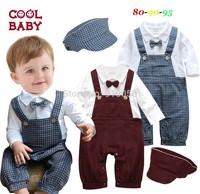 Baby Boys Long Sleeve Crimson&Plaid Tie Rompers+Hat 2Pcs Set Infant Gentleman Christmas Suits Children One-Piece Clothing