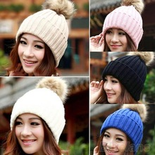 Women Winter Warm Braided Crochet Knitting Hat Girl Beret Ski Beanie Ball Cap