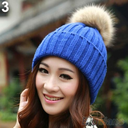 Women Winter Warm Braided Crochet Knitting Hat Girl Beret Ski Beanie Ball Cap 1VTP