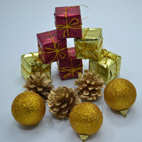 48pcs/lot Merry christmas!Christmas tree decoration mix ball,square,pinecone ornaments golden red color 1131,free shipping