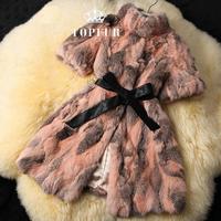 2014 Women New Arrival Real Rex Rabbit Fur Coat Genuine Natural Rabbit leopard fur Jacket for women winter Coat FP301B