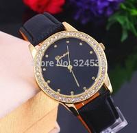 200pcs/lot Fashion quartz watch simple Ladies leather Watches wemen top brand luxury  New arrival geneva watch