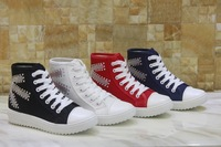4 Colors Women's Around Toe Canvas shoes Rhinestone Rubber solo High Top Sneakers Lace Up Women's Navy Flat shoes Plus size40