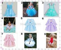 Frozen princess elsa anna baby girl long sleeve dress spring autumn summer children cartoon kids clothes party tutu cotton