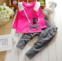 2014 autumn baby girls long-sleeved t-shirt + pants suit lace bow back pocket kitty cat dot girls cotton suit baby princess set