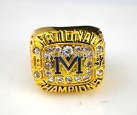 Free shipping sporty replica 18k gold plated 1997 University of Michigan Big 10 World Championship Ring