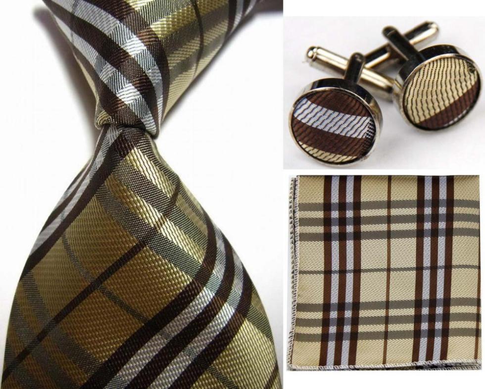 SNT0425 Brown Stripes 2014 New Classic Ties +Hanky Handkerchief Cufflinks Men's Business Casual Party Wedding Necktie Set(China (Mainland))