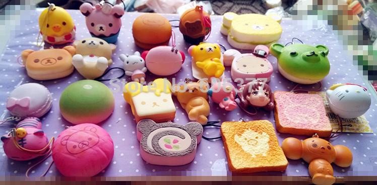 10pcs/lot Mixed Orders ! Small Orders Mixed Rilakkuma Squishy Charm With Nice Package(China (Mainland))