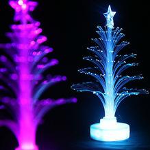 12cm Christmas tree fiber optic light colorful light emitting the flowers three-dimensional christmas tree decoration gift(China (Mainland))