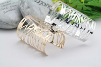 Retail One Punk Metal Gemetry Hollow Out Bangles For Women Men Opend Personality Cuff Bracelets