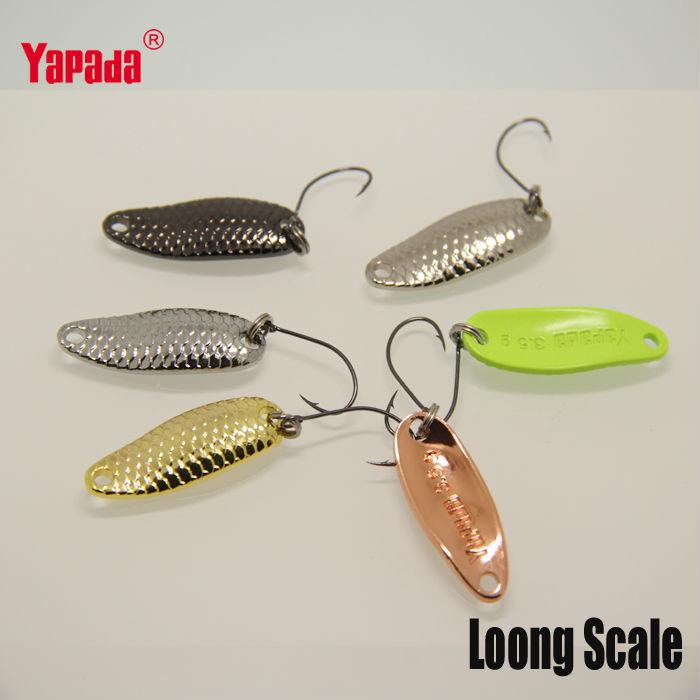 YAPADA colher 007 Loong escala 3,5 g 32mm 6pcs/lot Multicolor iscas de pesca de colher de Metal