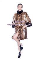 BG80163 NEW Leopard Grnuine Beavers Fur Coat With Mink Fur Collar Winter Women Long Coat Customize