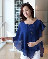 Free shipping !vestidos simples women's fashion  shirt locates short bat sleeve chiffon unlined upper garment  Europe Style Y384