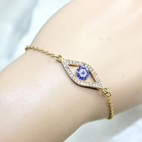 Chip price 2014 Fashion silver/gold crystal blue turkish evil eye bracelet for wommen (B2-270)