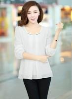 Free shipping ! Long Round Collar Sleeve Lotus Leaf Hem Chiffon Shirt  Women Blouse Elegant Adies Casual LooseY396