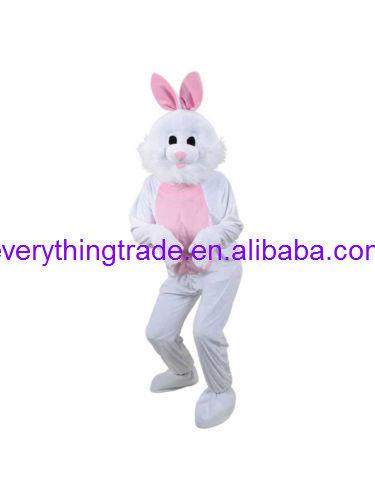 Hot sale 2014 Adult cute Big Head Easter Bunny New Fancy Dress Mascot Costume White Rabbit(China (Mainland))