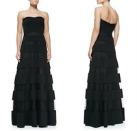 2014 Simple Fashion Strapless Off the Shoulder A Line Black Sheer Band in the Overlay Skirt