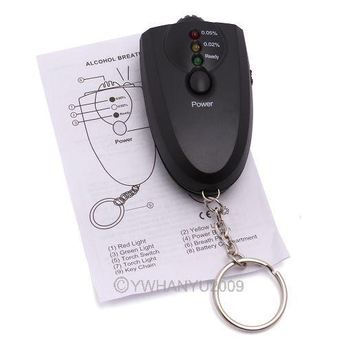 NEW Portable Keychain LED Alcohol Breath Tester Breathalyzer 83404(China (Mainland))