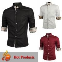 M-XXL 2014 new top Quality mens shirts Long sleeve shirt men slim fit design casual men's formal shirt brand 3Colors BC12