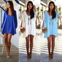 2014 new fashion women sexy chiffon dresses long sleeve v-neck dress loose irregular mini dresses casual vestidos plus size