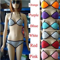 2014 New Multi-colors Women's Sexy Swimsuit Strap Stitching Swimwear Triangle Bikini Set Neon Bikini Set Ladies' Beach Wear